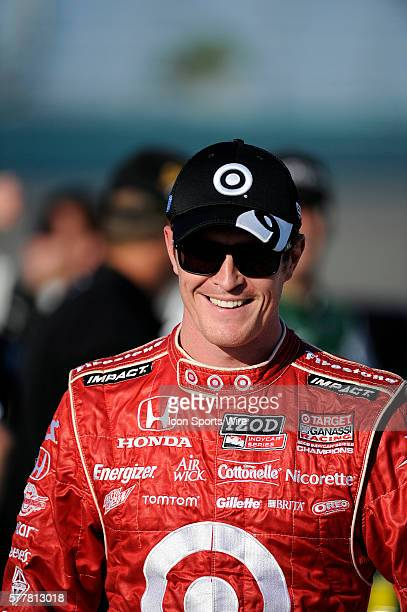 Scott Dixon smiles on pit row during the qualifying for the Cafes do Brasil Indy 300 IZOD INDYCAR series race at the HomesteadMiami Speedway in...