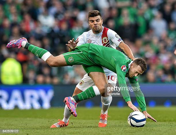 11 October 2014 Aiden McGeady Republic of Ireland in action against Liam Walker Gibraltar UEFA EURO 2016 Championship Qualifer Group D Republic of...