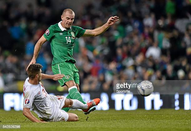 11 October 2014 Darron Gibson Republic of Ireland in action against Liam Walker Gibraltar UEFA EURO 2016 Championship Qualifer Group D Republic of...