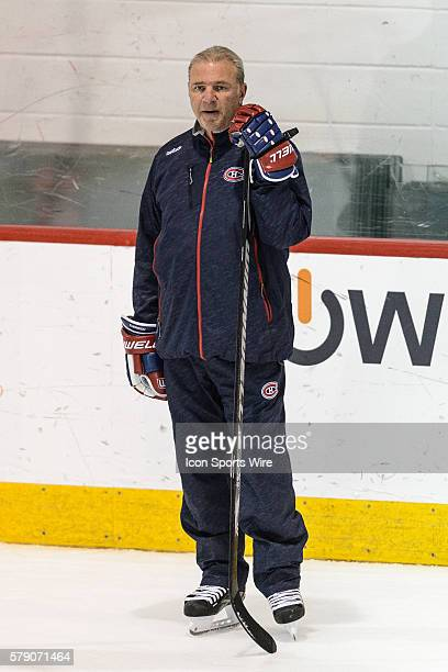 Head coach Michel Therrien looks at his team during the Montreal Canadiens practice at the Bell Sports Complex in Brossard Quebec Canada