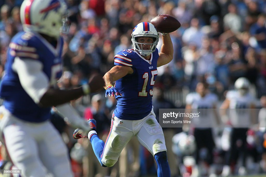 Buffalo Bills Wide Receiver Chris Hogan (15) passes to Buffalo Bills Quarterback Tyrod Taylor (5) on a pass back to the quarterback during the NFL football game between the Buffalo Bills and the Tennessee Titans. The Bills defeated the Titans 14-13 at Nissan Stadium in Nashville, Tn.