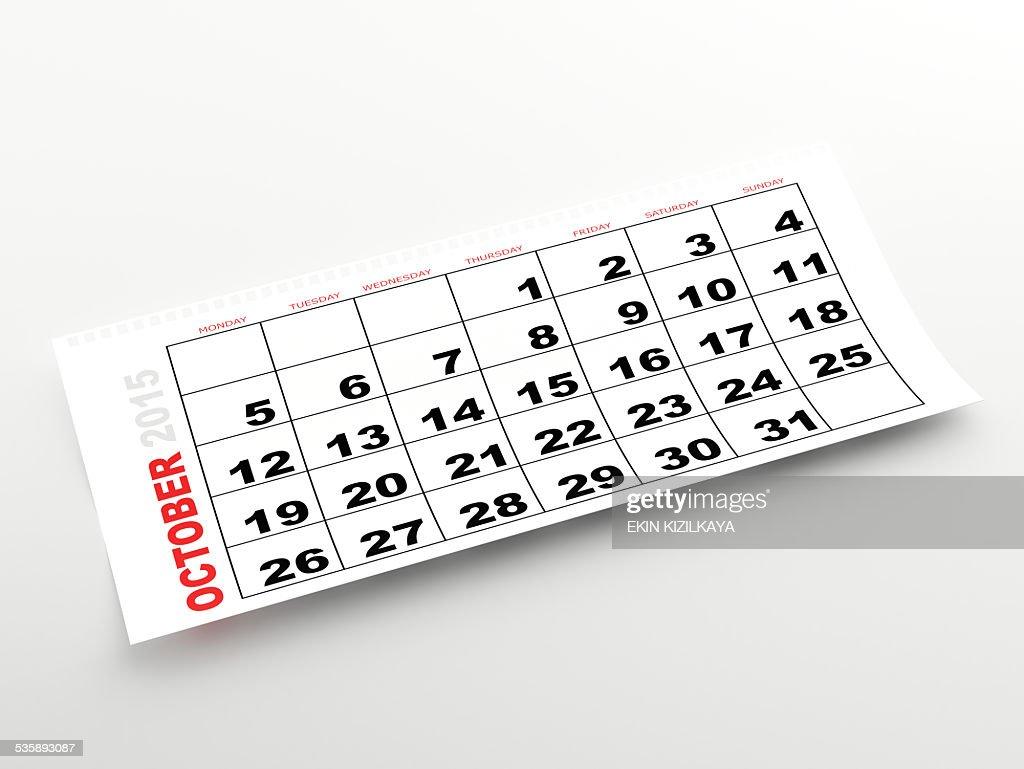 October 2015 calendar : Stock Photo