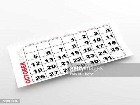Oktober 2015 Kalender : Stock-Foto