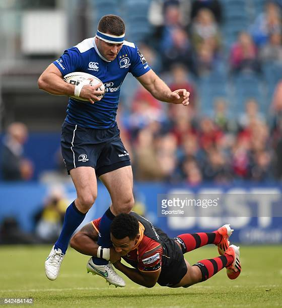 3 October 2015 Fergus McFadden Leinster is tackled by Tom Prydie Newport Gwent Dragons Guinness PRO12 Round 3 Leinster v Newport Gwent Dragons RDS...
