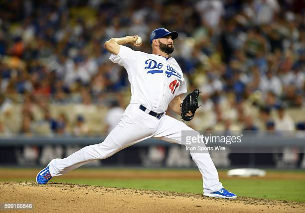 Los Angeles Dodgers Pitcher Chris Hatcher [6729] during game 2 of the NLDS between the New York Mets and the Los Angeles Dodgers at Dodger Stadium in...