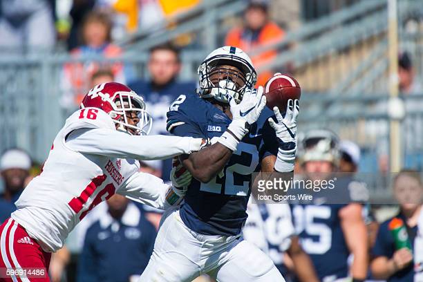 Penn State Nittany Lions wide receiver Chris Godwin can't pull the ball in and misses the long bomb during the NCAA Football game between the Penn...