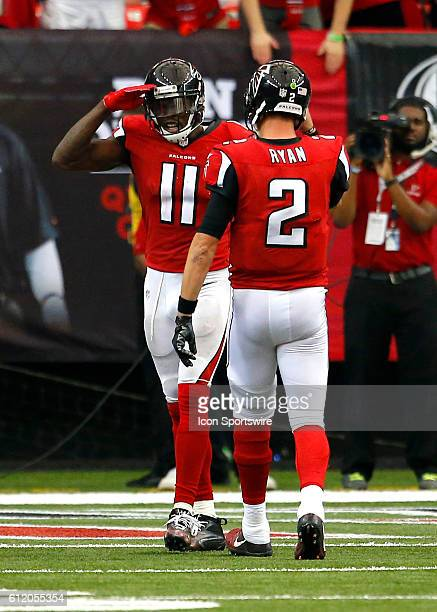 Atlanta Falcons wide receiver Julio Jones celebrates a touchdown with quarterback Matt Ryan in the Atlanta Falcons 4833 victory over the Carolina...