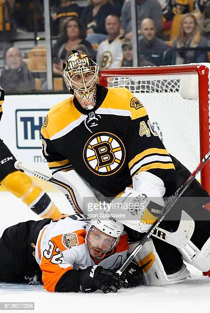 Boston Bruins goalie Tuukka Rask [4958] and Philadelphia Flyers defenseman Mark Streit look to the referee to see if a call is made in overtime after...