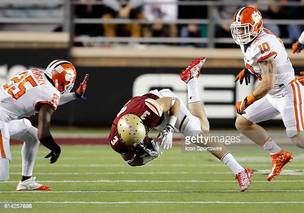Boston College wide receiver Michael Walker comes down with the catch between Clemson Tigers cornerback Cordrea Tankersley and Clemson Tigers...