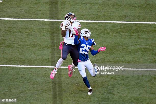 Chicago Bears Wide Receiver Alshon Jeffery battles with Indianapolis Colts Cornerback Patrick Robinson to catch a pass in the third period of action...
