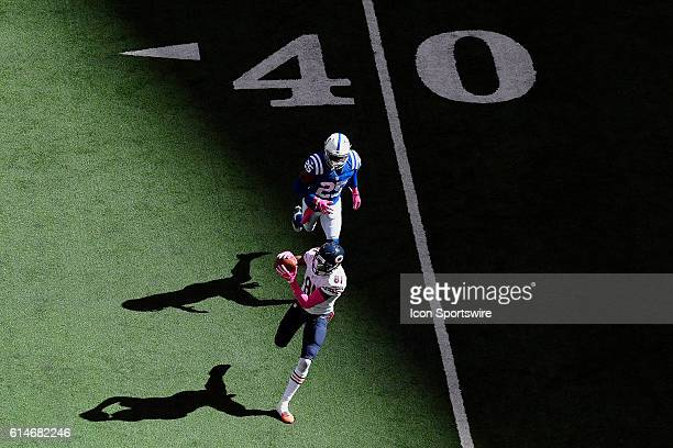 Chicago Bears Wide Receiver Cameron Meredith beats Indianapolis Colts Cornerback Patrick Robinson and catches a pass in action during a game between...