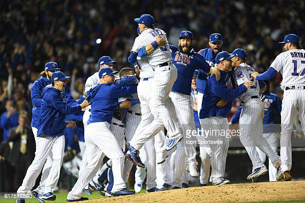 Chicago Cubs celebrate after their victory for the National League Championship between the Los Angeles Dodgers and the Chicago Cubs at Wrigley Field...