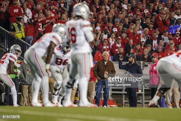 College Game Day host Lee Corso watches the game from the sidelines as the 2nd ranked Ohio State Buckeyes defeat the 8th ranked Wisconsin Badgers in...