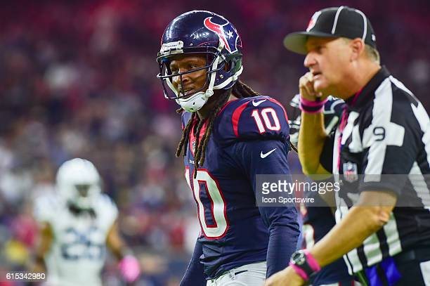 Houston Texans Wide Receiver DeAndre Hopkins is disgruntled after being called for holding during the NFL game between the Indianapolis Colts and...