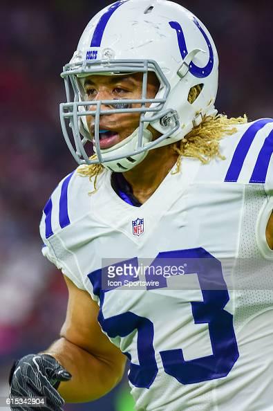 Indianapolis Colts Linebacker Edwin Jackson during the NFL game between the Indianapolis Colts and Houston Texans at NRG Stadium Houston Texas