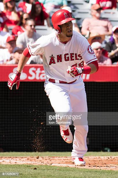 Los Angeles Angels of Anaheim Outfield Rafael Ortega watches his run scoring single in the 2nd inning during the game against the Houston Astros...