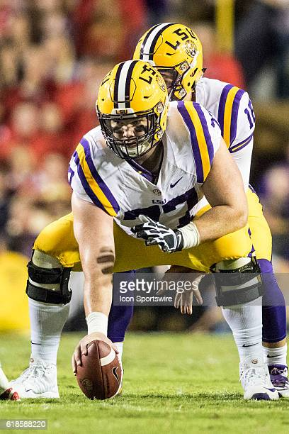 LSU Tigers center Ethan Pocic about to snap the ball during the LSU Tigers 3821 win over the Ole Miss Rebels at Tiger Stadium in Baton Rouge LA