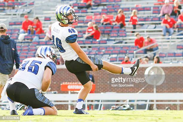 Memphis Tigers place kicker Jake Elliott prior to the Ole Miss Rebels 4828 win over the Memphis Tigers at VaughtHemingway Stadium in Oxford...