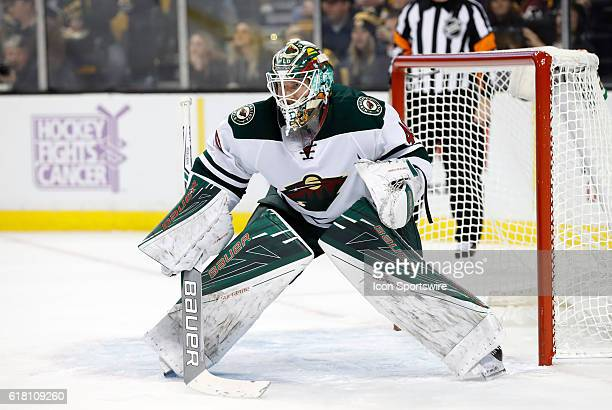 Minnesota Wild goalie Devan Dubnyk gets set for a face off The Minnesota Wild defeated the Boston Bruins 50 in a regular season NHL game at TD Garden...