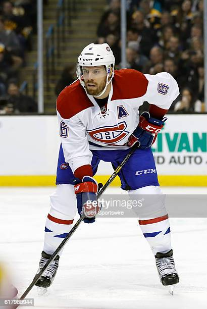 Montreal Canadiens defenseman Shea Weber gets set for the puck drop The Montreal Canadiens defeated the Boston Bruins 42 in a regular season NHL game...