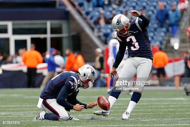 New England Patriots kicker Stephen Gostkowski kicks a practiuce field goal from the hold of New England Patriots punter Ryan Allen The Buffalo Bills...