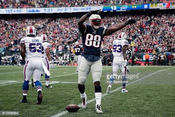 New England Patriots tight end Martellus Bennett celebrates a first down The Buffalo Bills defeated the New England Patriots 160 in a regular season...