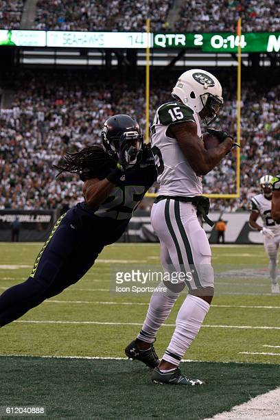 New York Jets Wide Receiver Brandon Marshall beats Seattle Seahawks Cornerback Richard Sherman for the touchdown during the NY Jets vs Seattle...
