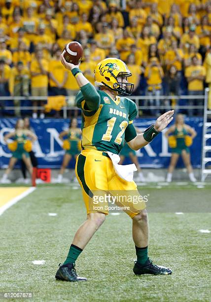 North Dakota State Bison quarter back Easton Stick during a game against the Illinois State Redbirds at the Fargodome in Fargo North Dakota