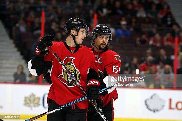 Ottawa Senators Defenceman Erik Karlsson and Ottawa Senators Defenceman Thomas Chabot during a game between the Coyotes and Senators at Canadian Tire...