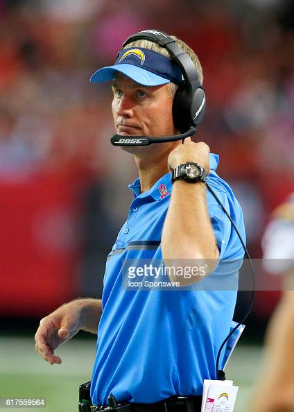 San Diego Chargers head coach Mike McCoy reacts in first half action of the San Diego Chargers at Atlanta Falcons at the Georgia Dome in Atlanta...