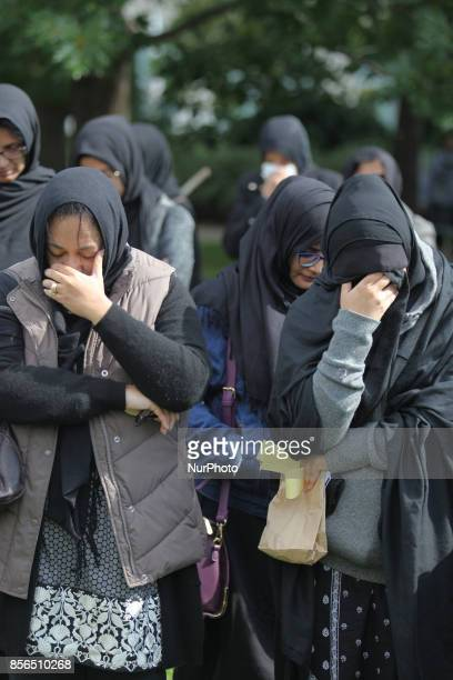 October 2016 Toronto Ontario Canada Pakistani Shiite Muslims listen to Quranic poetry and cry during the recitation of the story of the death of...