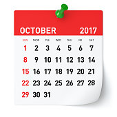 October 2017 - Calendar. Isolated on White Background. 3D Illustration