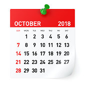 October 2018 - Calendar. Isolated on White Background. 3D Illustration