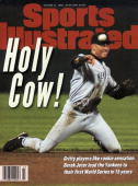 October 21 1996 Sports Illustrated Cover Baseball ALCS Playoffs New York Yankees Derek Jeter in action making throw from knees vs Baltimore Orioles...
