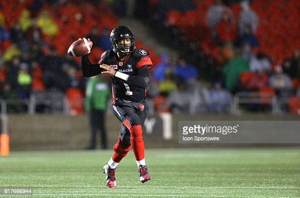 Henry Burris of the Ottawa Redblacks prepares to throw the ball downfield against the Hamilton TigerCats in Canadian Football League action at TD...