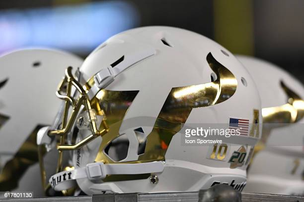 South Florida Bulls helmet sits on a cart during a NCAA Football game between the University of South Florida Bulls and the Temple Owls at Lincoln...