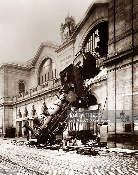 October 22, 1895 - Vintage photo of a locomotive derailment at Montparnasse Station, Paris, France.