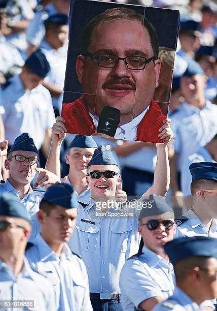 An Air Force Cadet holds up sign of Ken Bone during a Mountain West Conference matchup between the University of Hawaii Rainbow Warriors and the Air...
