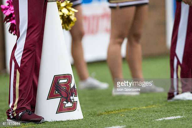 BC cheerleaders and bullhorn on the sideline of the game between the Syracuse Orange and Boston College Eagles at Alumni Stadium in Chestnut Hill MA