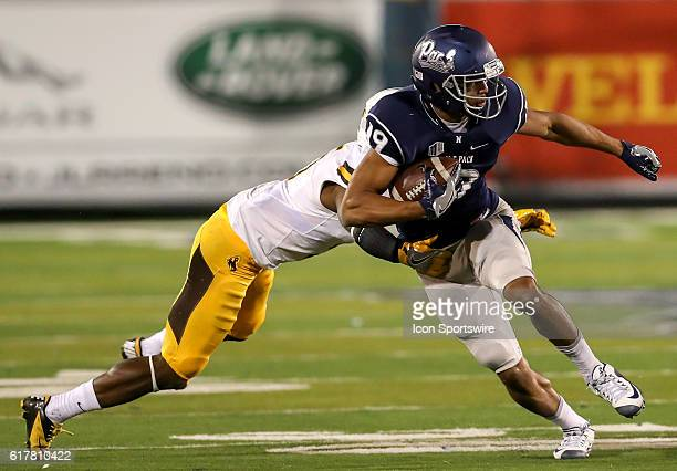 Nevada Wolf Pack WR Wyatt Demps during the game between the Wyoming Cowboys and the Nevada Wolf Pack played at Mackay Stadium in Reno Nevada