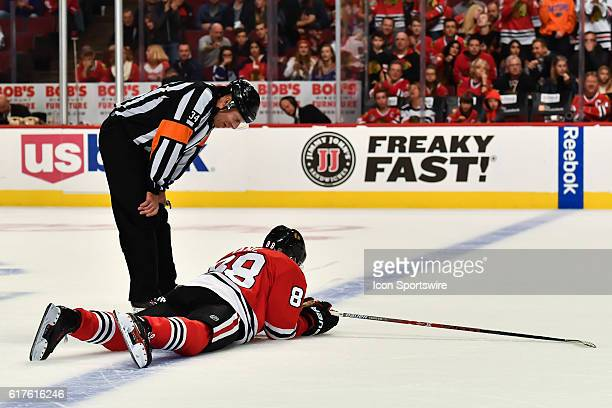 October 22 2016 The referee talks with Chicago Blackhawks Right Wing Patrick Kane after an injury to the face from Toronto Maple Leafs Left Wing...