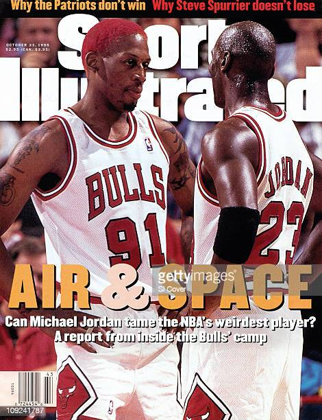 October 23 1995 Sports Illustrated CoverBasketball Chicago Bulls Dennis Rodman and Michael Jordan during preseason exhibition game vs Cleveland...