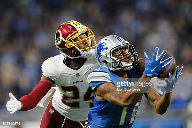 Detroit Lions wide receiver Marvin Jones Jr catches a pass against Washington Redskins cornerback Josh Norman during game action between the...
