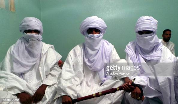 October 24 2013 dated picture shows the traditional bridal ceremony of Tuaregs Berber people with a traditionally nomadic pastoralist lifestyle who...