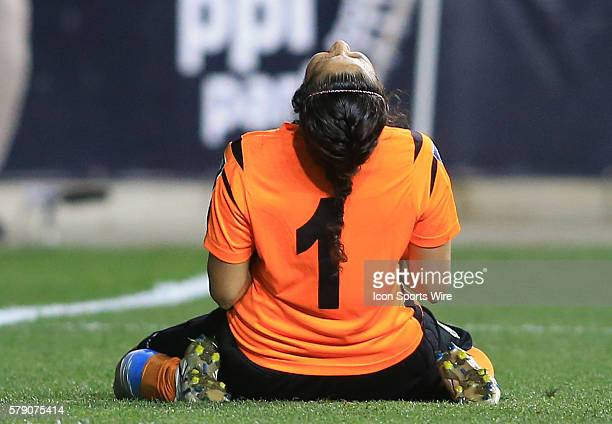 Dinnia Diaz of Costa Rica after saving all the Trinidad Tobago penalty kicks during a CONCACAF Women's World Cup semifinal qualifier at PPL Park in...