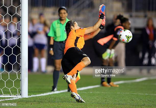Dinnia Diaz of Costa Rica makes a save in the penalty kick shootout victory over Trinidad Tobago during a CONCACAF Women's World Cup semifinal...