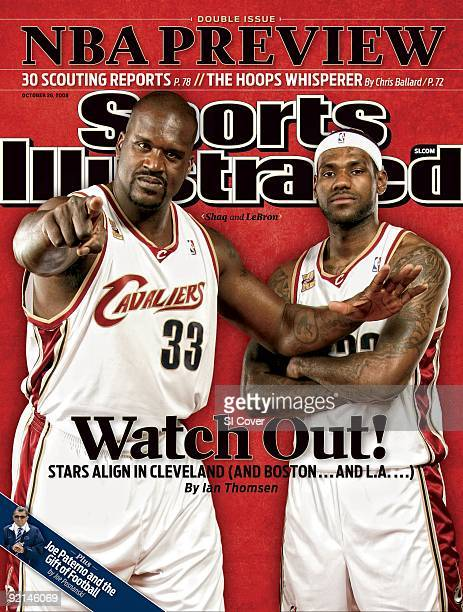 October 26 2009 Sports Illustrated Cover Basketball Portrait of Cleveland Cavaliers Shaquille O'Neal and LeBron James during Media Day photo shoot at...