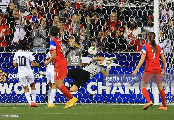 Abby Wambach of the USA watches her header beat Dinnia Diaz of Costa Rica for her third goal during the championship match of the CONCACAF Women's...