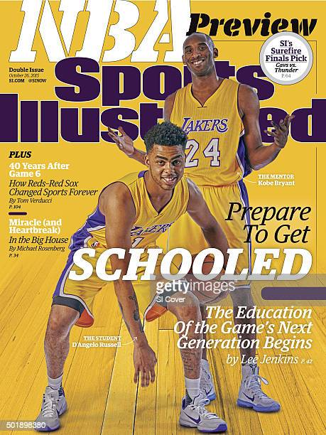 October 26 2015 Sports Illustrated Cover NBA Season Preview Portrait of Los Angeles Lakers D'Angelo Russell and Kobe Bryant posing posing during...