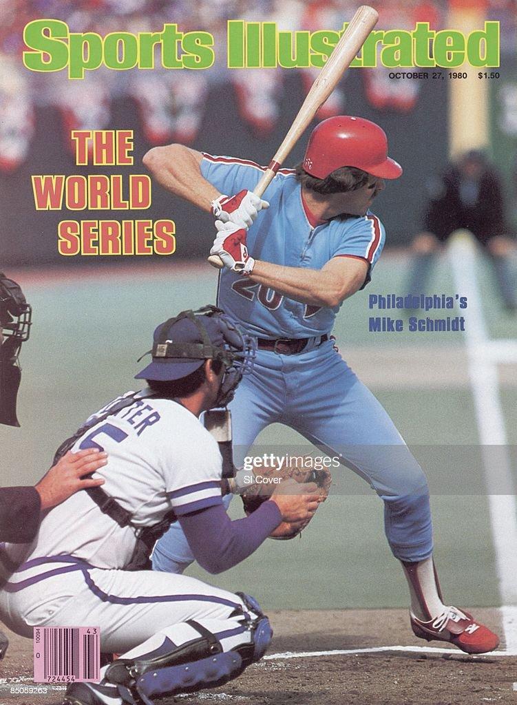 October 27 1980 Sports Illustrated Cover Baseball World Series Philadelphia Phillies Mike Schmidt in action at bat vs Kansas City Royals Game 4...